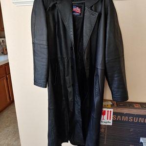 Men's Leather Trench Coat